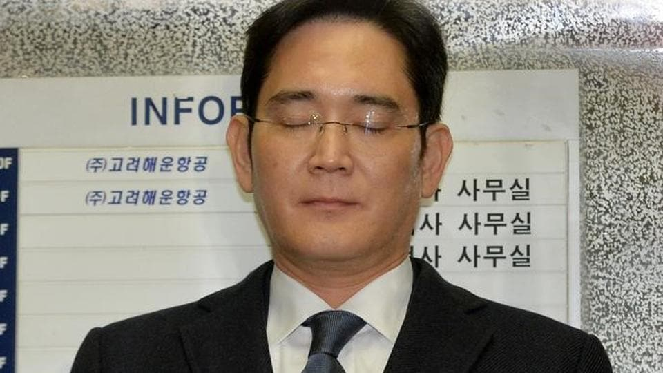 Samsung Group chief, Jay Y Lee, rides on an elevator as he arrives at the office of the independent counsel in Seoul, South Korea, February 16, 2017.