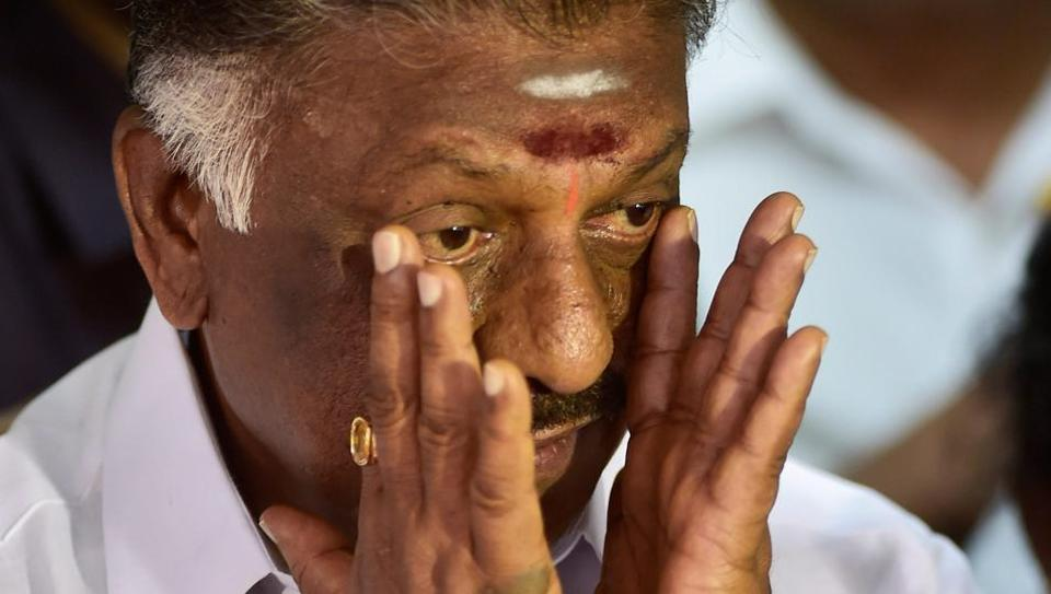 O Panneerselvam during a press conference in Chennai.