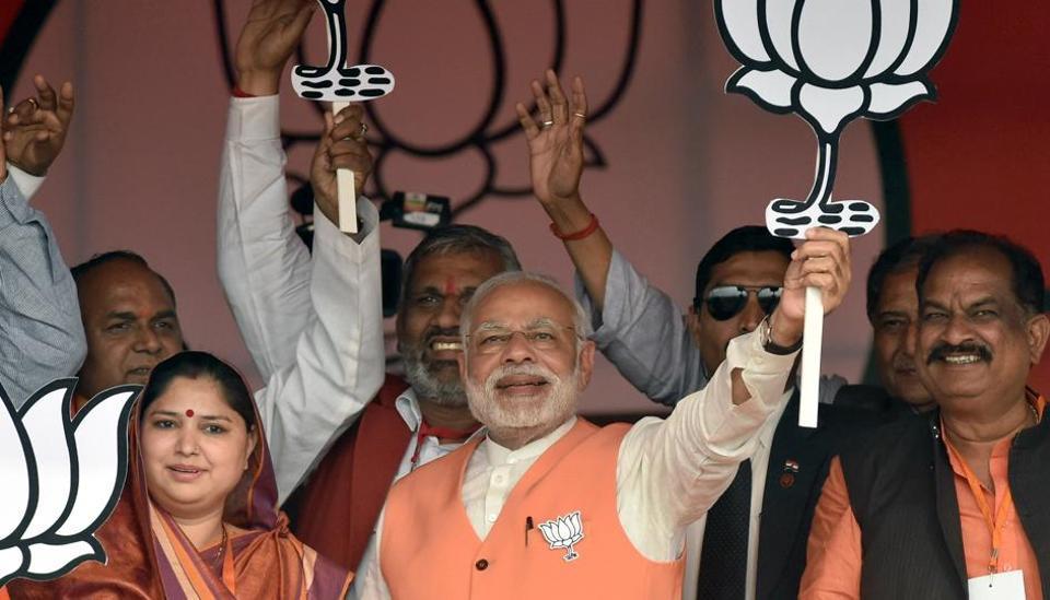 Prime minister Narendra Modi during a rally at Barabanki constituency of Uttar Pradesh.