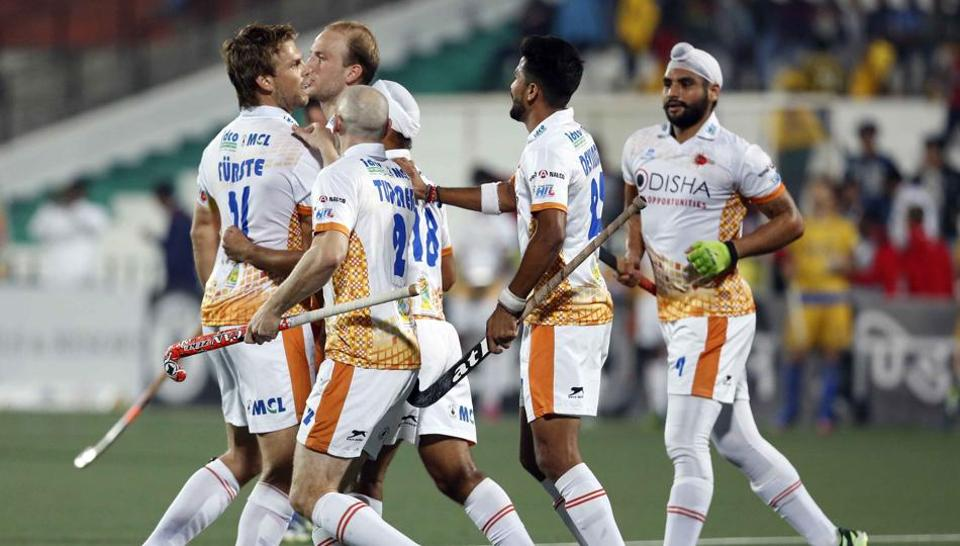 Kalinga Lancers players celebrate after scoring against Punjab Warriors in the Hockey India League on Saturday.