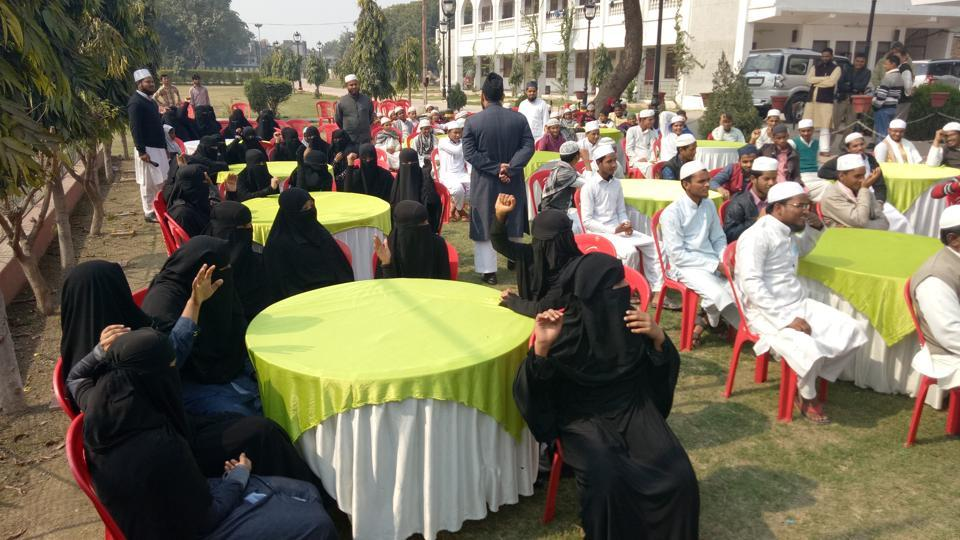 Young Muslim students enthusiastically participating in HT's Campus Adda at the Islamic Centre of India in Lucknow.
