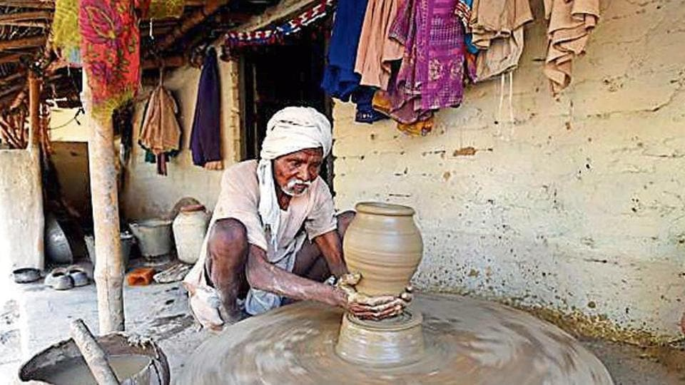 Johri Lal, brother of Bhagwati Prajapati who died of hunger, does pottery for a living. Congress vice-president Rahul Gandhi visited the family in UP's Nehri village in 2009.