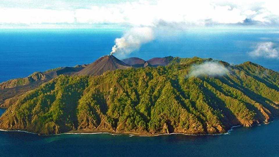 India's only active volcano, the Barren Island volcano, has started spewing ash again.