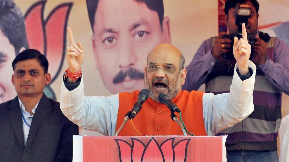 BJP president Amit Shah addresses an election rally in Sambhal  in UP.