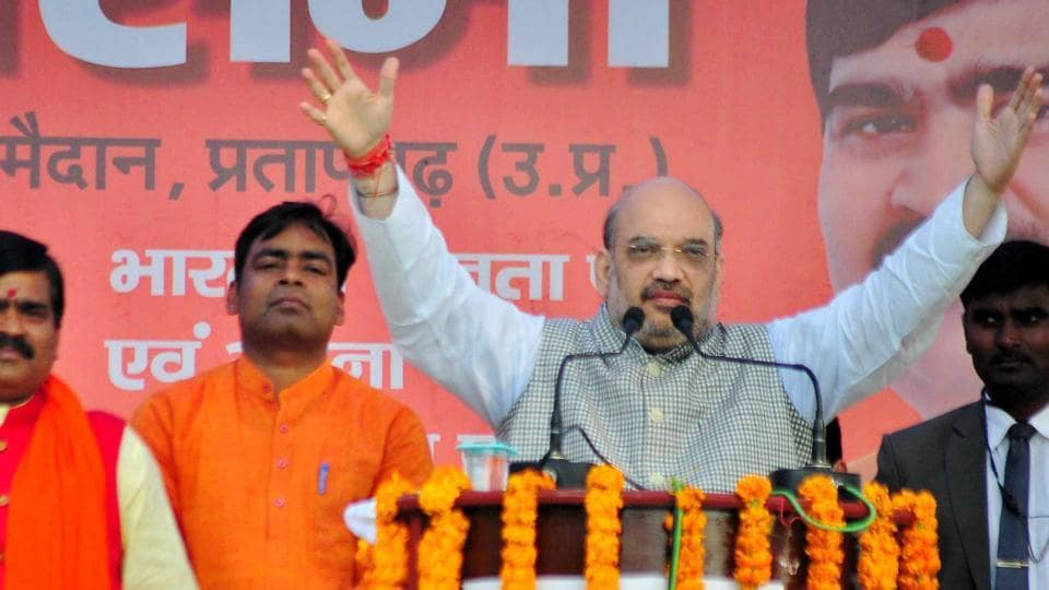 Bharatiya Janata Party (BJP) President Amit Shah at an election campaign in Uttar Pradesh's Pratapgarh on Thursday, Feb. 16, 2017. Shah has termed the SP-Congress tie up as an alliance between two corrupt families.