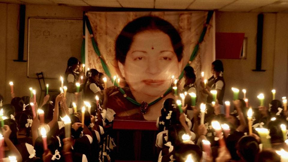 Students of Everwin School take part in a candlelight vigil to pay tribute to the late former Tamil Nadu chief minister J Jayalalithaa at their school premises in Chennai on Thursday.