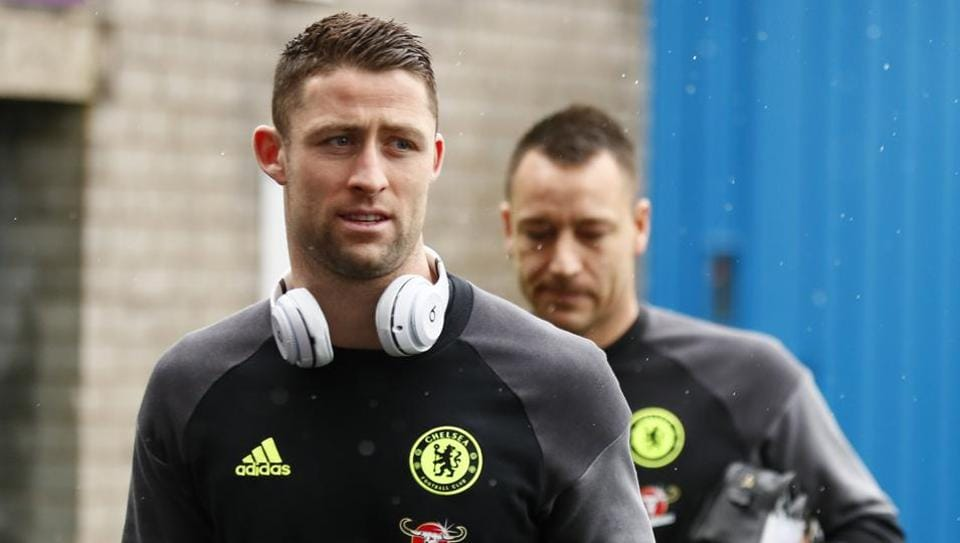 Chelsea FC's John Terry and Gary Cahill arrive for practice ahead of their FA Cup match against Wolverhampton Wanderers FC.