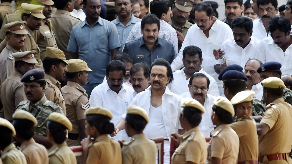 Opposition party leader in Tamil Nadu MK Stalin leaves the assembly in Chennai on Saturday.