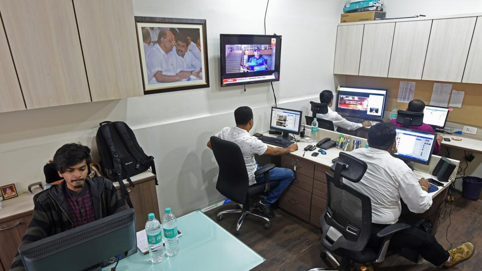 Inside the NCP's social media war room in Mumbai's  Parel, workers check the party's social media pages ahead of the civic polls.