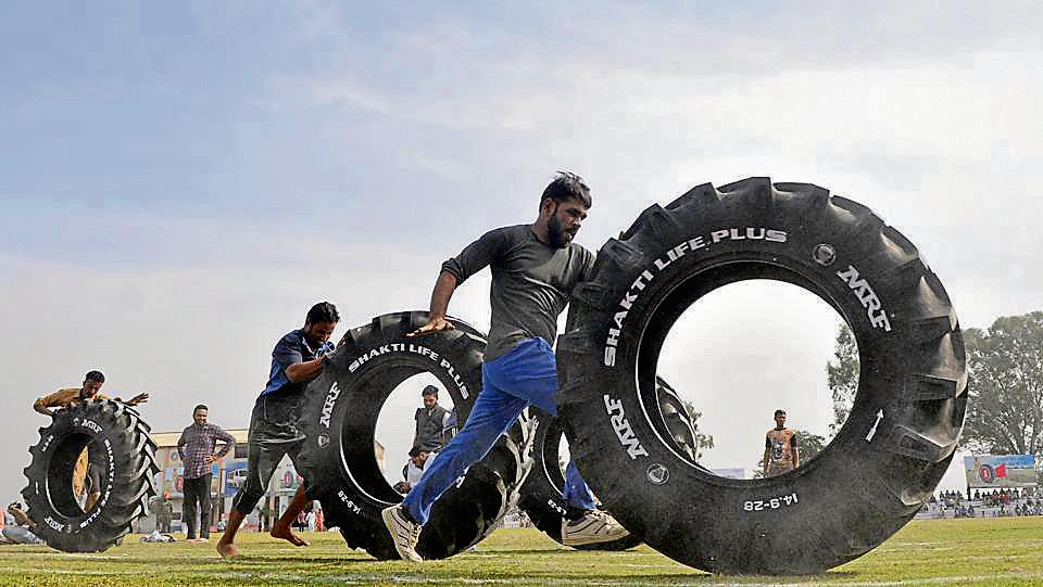 Participants of the tyre race in Ludhiana on Saturday.