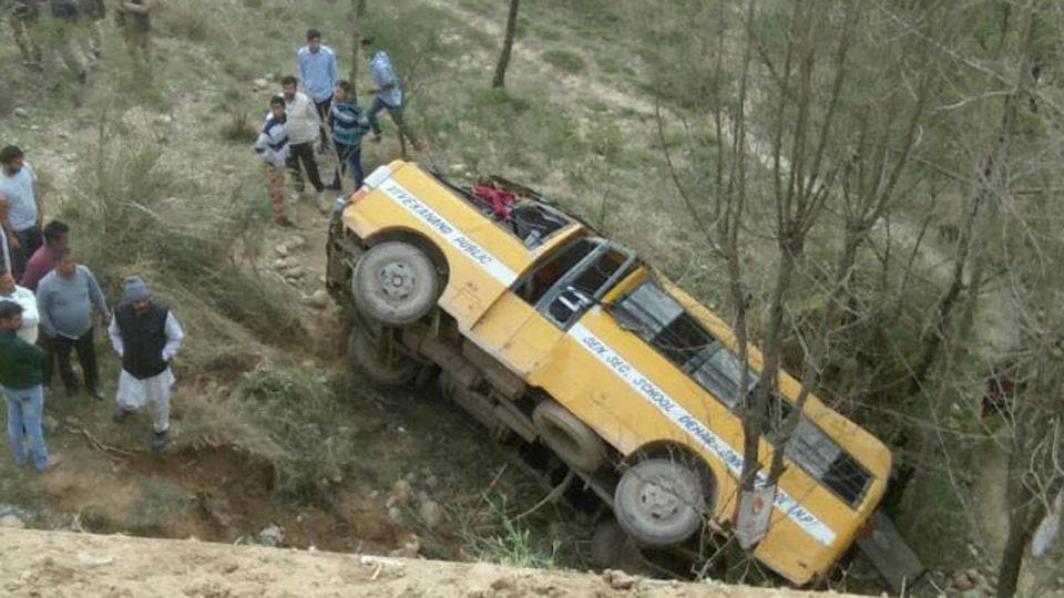 The school bus that rolled down a gorge at Dehar area of Sundernagar.