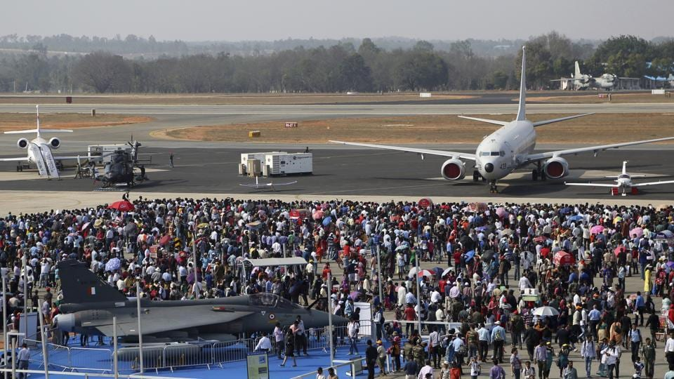 Spectators assemble at the static display area on the fourth day of Aero India 2017 at Yelahanka air base in Bengaluru, on February 17, 2017.