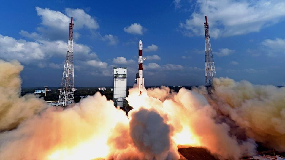 ISRO successfully launching a record 104 satellites, including India's earth observation satellite on-board PSLV-C37/Cartosat2 Series from the spaceport of Sriharikota on February 15, 2017.  (PTI photo)