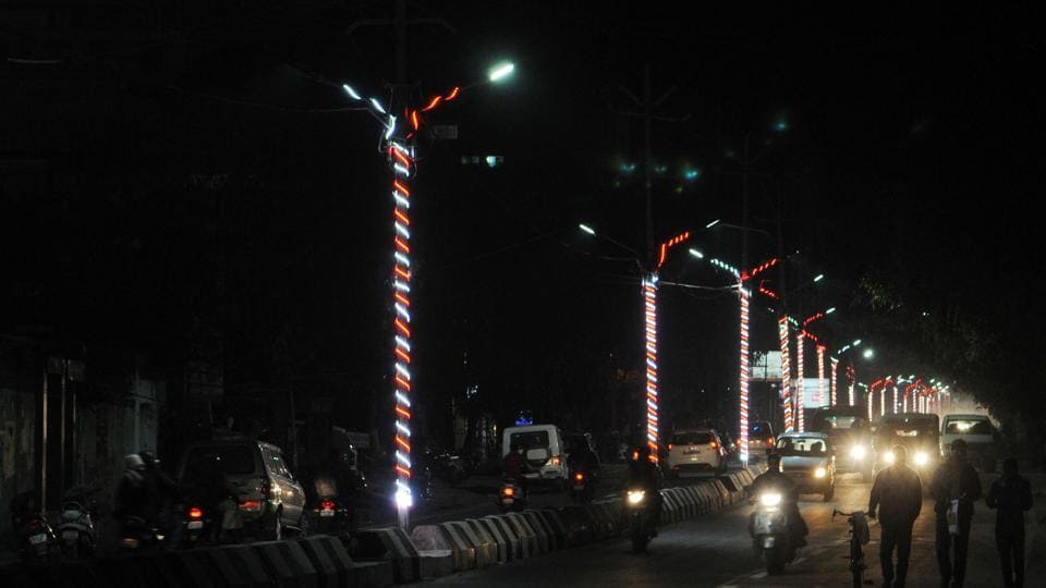 Light decoration on streets for the global investors summit in Ranchi