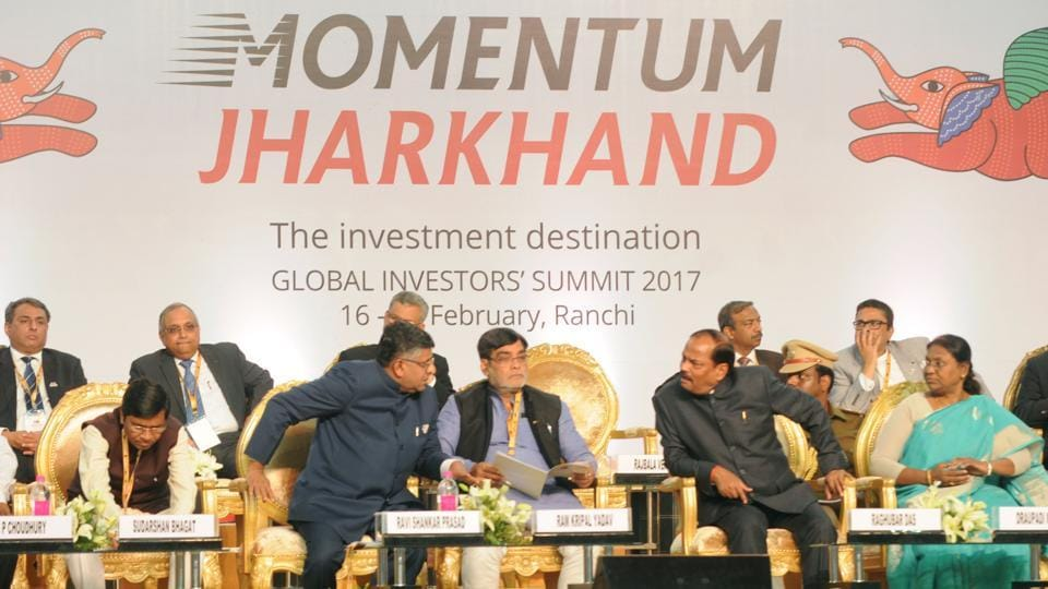 Jharkhand chief minister Raghubar Das and union ministers at the global investors summit in Ranchi on Friday
