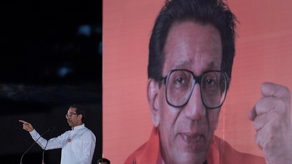 Shiv Sena chief Uddhav Thackeray addresses a public meeting at the BKC ground on Saturday. (Satish Bate/HT PHOTO)