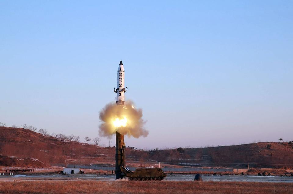 A surface-to-surface medium long-range ballistic missile Pukguksong-2 is launched bv North Korea on February 13.