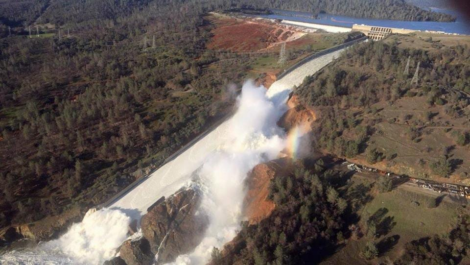 A damaged spillway with eroded hillside is seen in an aerial photo taken over the Oroville Dam in Oroville, California, US on February 11, 2017.  (William Croyle/ REUTERS)