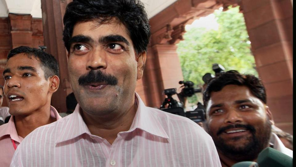 RJD's Mohammad Shahabuddin, a former MP, arrives in Parliament.
