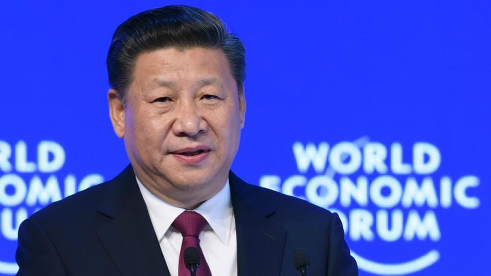 """China's President Xi Jinping at the World Economic Forum, on January 17, 2017 in Davos.  Worried its export-dependent industries will suffer, China has repeatedly urged global leaders to reject protectionism, which Trump has championed with his """"America First"""" campaign."""