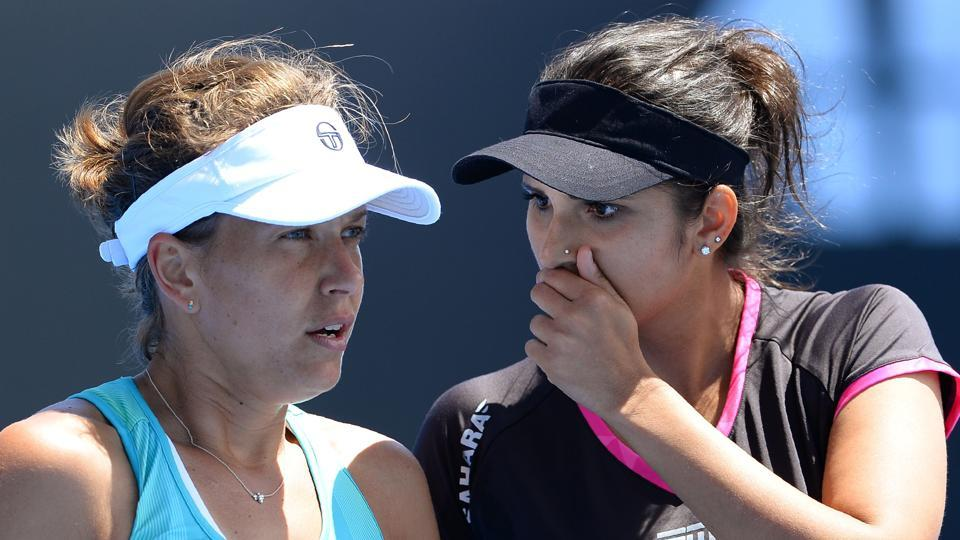 India's Sania Mirza (R)  to partner Czech Republic's Barbora Strycova during the Qatar Open.