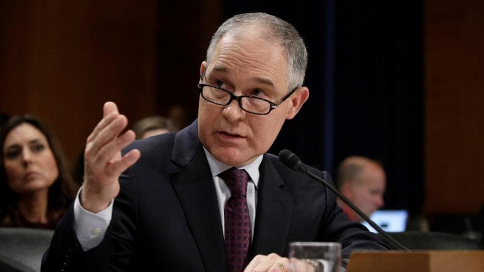 Oklahoma attorney general Scott Pruitt testifies before a senate environment and public works committee confirmation hearing on his nomination to be administrator of the environmental protection agency in Washington, US in January.