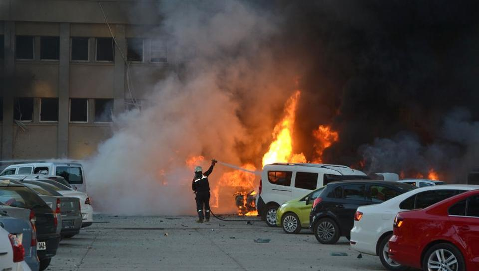 Representative Image: A firemen extinguish fire on cars after an explosion on November 24,2016 in Adana.