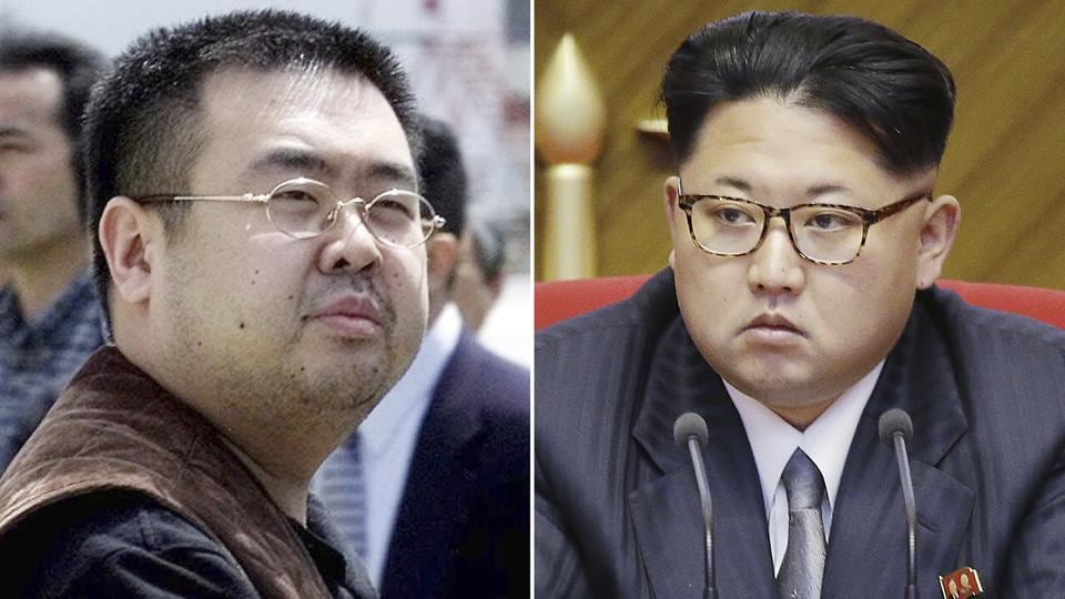 This combination of file photo shows Kim Jong Nam (left), the exiled half-brother of North Korea leader Kim Jong Un, in Narita, Japan, and North Korean leader Kim Jong Un in Pyongyang.
