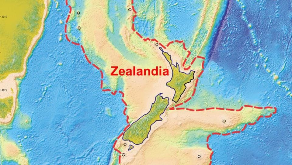 An illustration shows what geologists are calling Zealandia, a continent two-thirds the size of Australia beneath the southwest Pacific. Zealandia is believed to have broken away from Australia about 80 million years ago during the break up of the super-continent known as Gondwanaland.