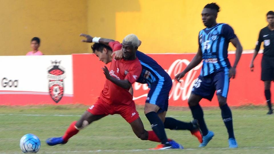 Action during the I-League match between Minerva Punjab FCand Churchill Brothers, in Goa on Sunday.