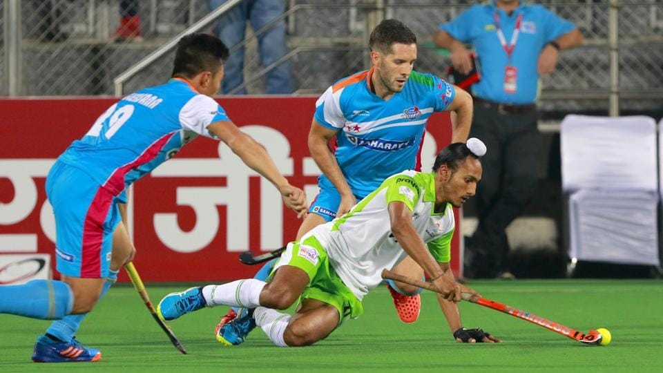 Action during the Hockey India League match between UP Wizards and Delhi Waveriders on Sunday.