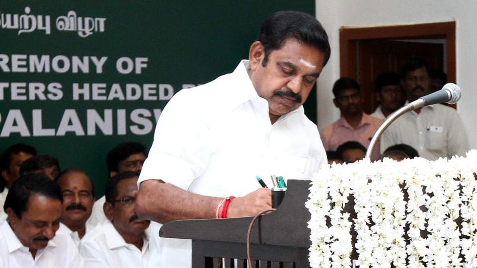 Chief Minister Edappadi Palaniswami after taking the oath of secrecy administered by governor CH Vidyasagar Rao during the swearing-in ceremony at Raj Bhavan in Chennai.