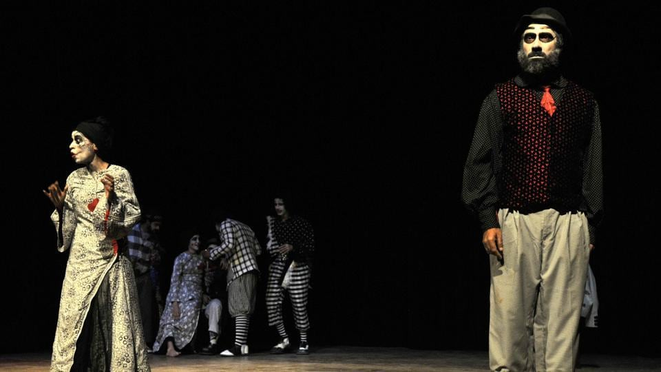 Macbeth play in progress at Tagore theatre in Chandigarh on Sunday. (Ravi Kumar/HT photo)
