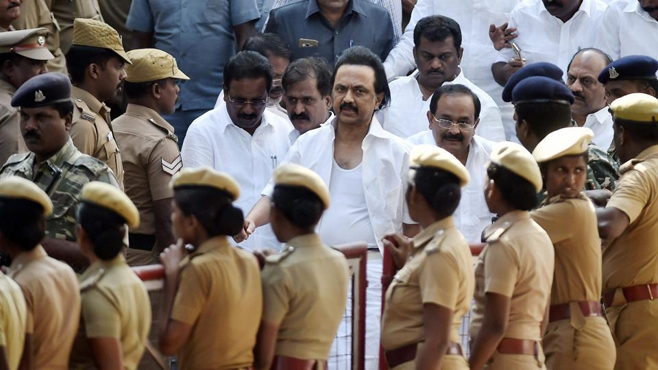 Tamil Nadu  opposition leader MK Stalin leaves the assembly premises after the ruckus during the vote of confidence in Chennai on Saturday.