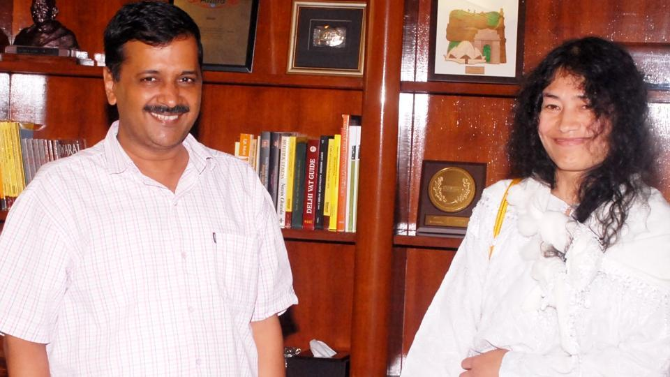 Delhi chief minister Arvind Kejriwal with activist Irom Sharmila at the Delhi Secretariat on September 26.