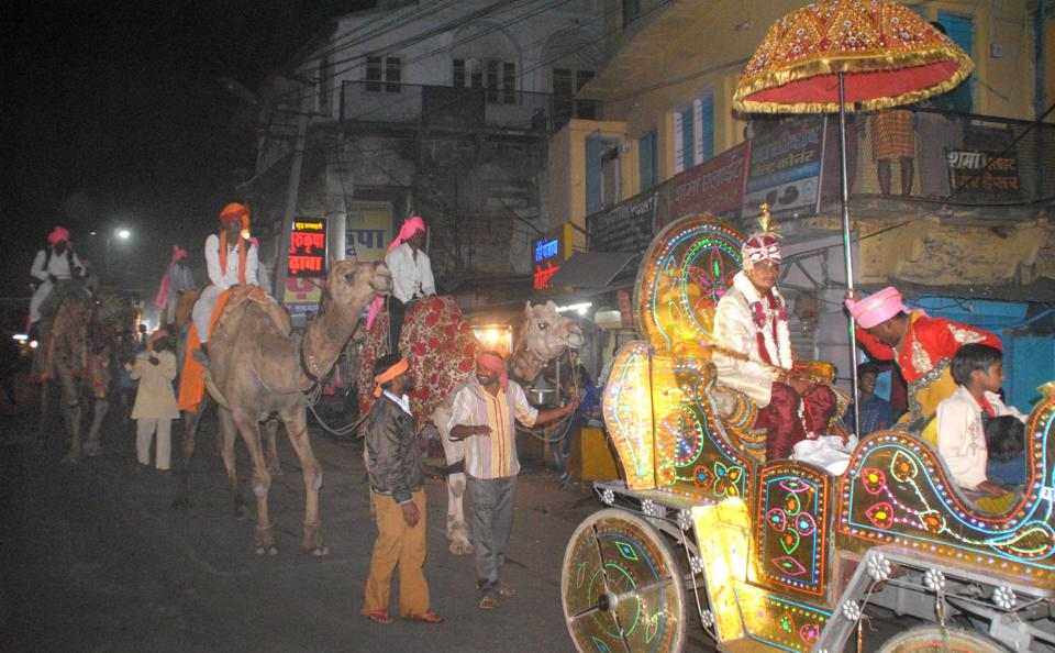 A dalit groom sits on a buggy and his relatives ride on horses, camels and an elephant during a wedding procession in Kota city.