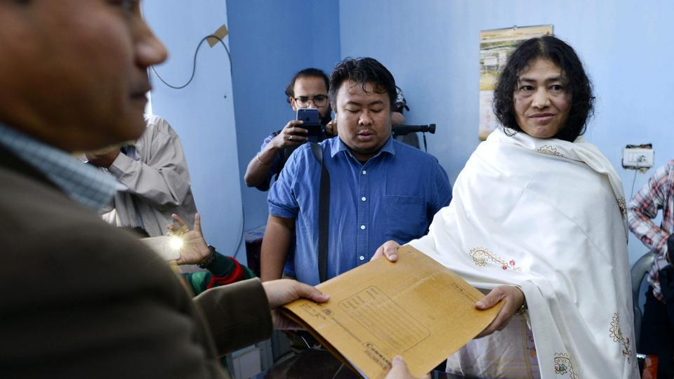 Civil rights activist and Peoples Resurgence and Justice Alliance (PRJA) part candidate for the state assembly elections Irom Sharmila (R) poses for a photograph as she files her election nomination papers in the Thoubal district of the state of Manipur on February 16, 2017.