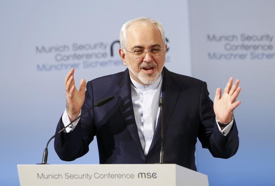 Iran foreign minister Mohammad Javad Zarif at the Munich Security Conference on Sunday.