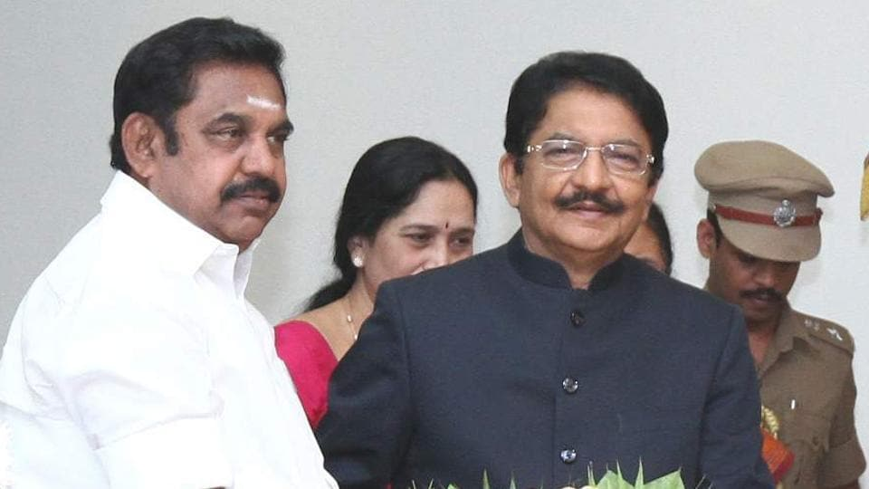 Governor Ch Vidyasagar Rao (right) has sought a report on the unsavoury incidents witnessed in the assembly when chief minister Edappadi K Palaniswami won a trust vote.