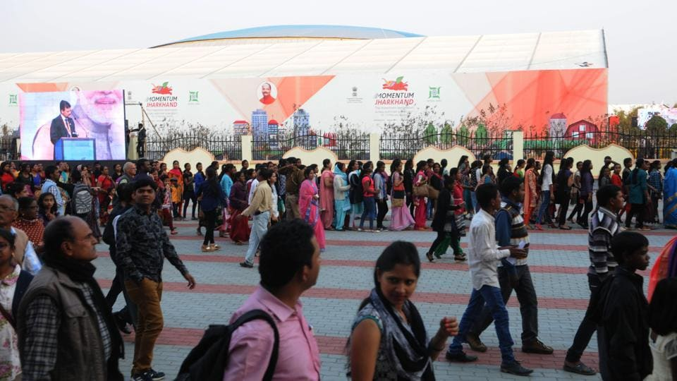 Rush of common people to see the venue of the global investors summit