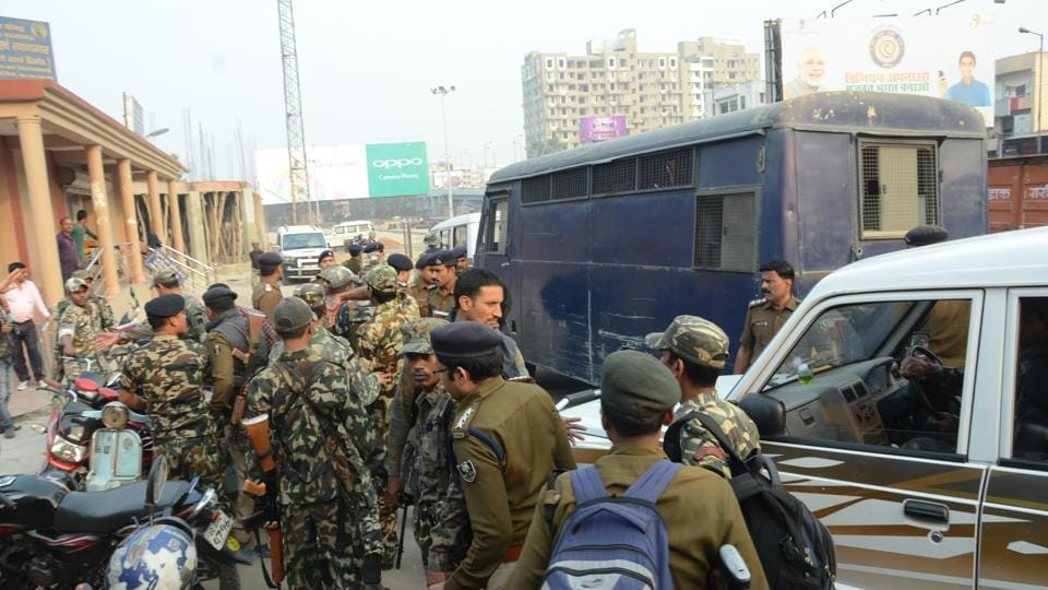 Security personnel on the route for former Siwan MP Md Shahabuddin's transfer to the Delhi-bound train, in Patna.
