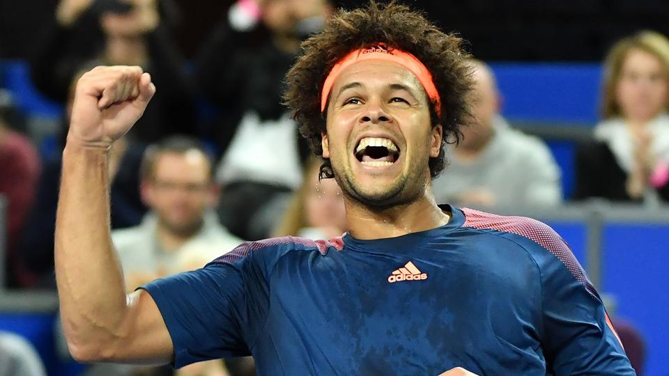 Jo-Wilfried Tsonga celebrates after winning his semifinal match against Tomas Berdych during the Rotterdam Open.