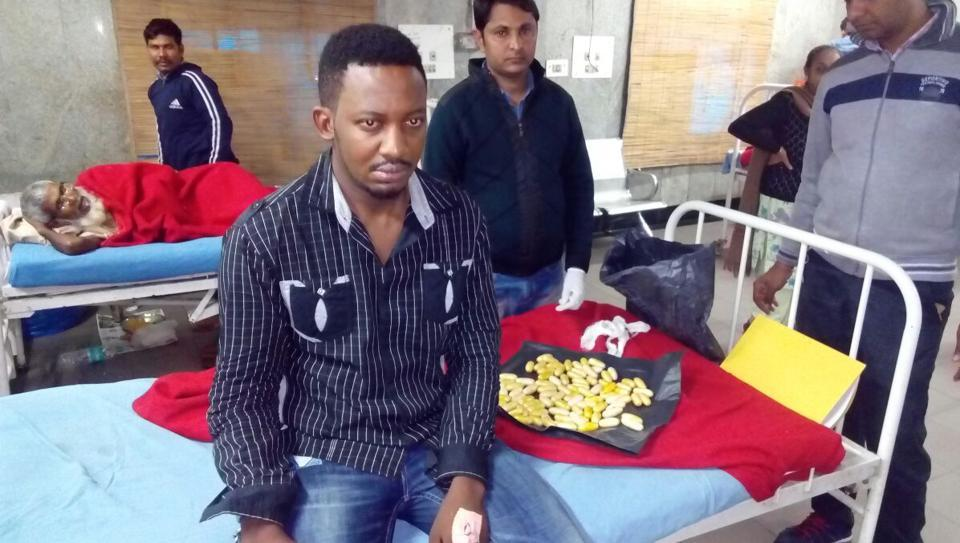 ANigerian drug trafficker with 90 cocaine capsules that he had swallowed. Drug mules are one of the common ways for international drug traffickers to bring in narcotics into Delhi.