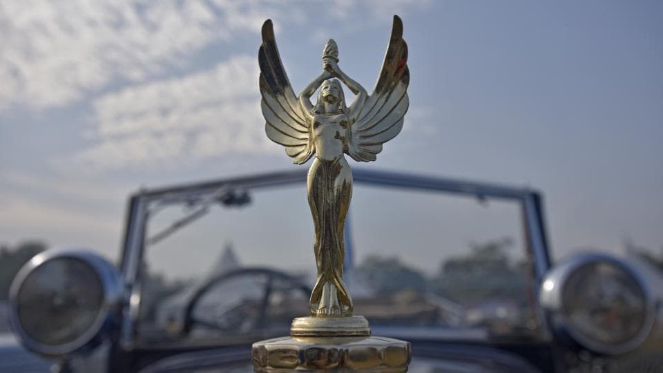 A bonnet ornament of a vintage car on display during the 21 Gun Salute Vintage Car Rally at India Gate. The rally was flagged off by the chief guest General Bipin Rawat. (Ravi Choudhary/HT PHOTO)