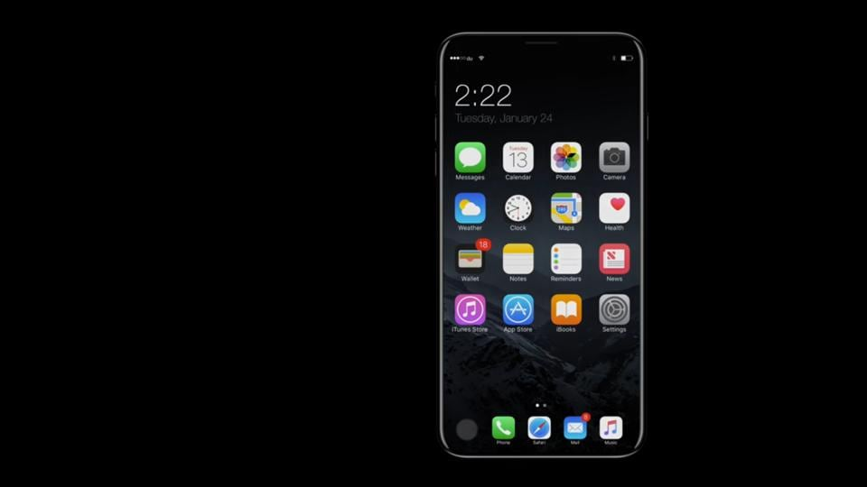 A mockup design of what the iPhone 8 may look like.