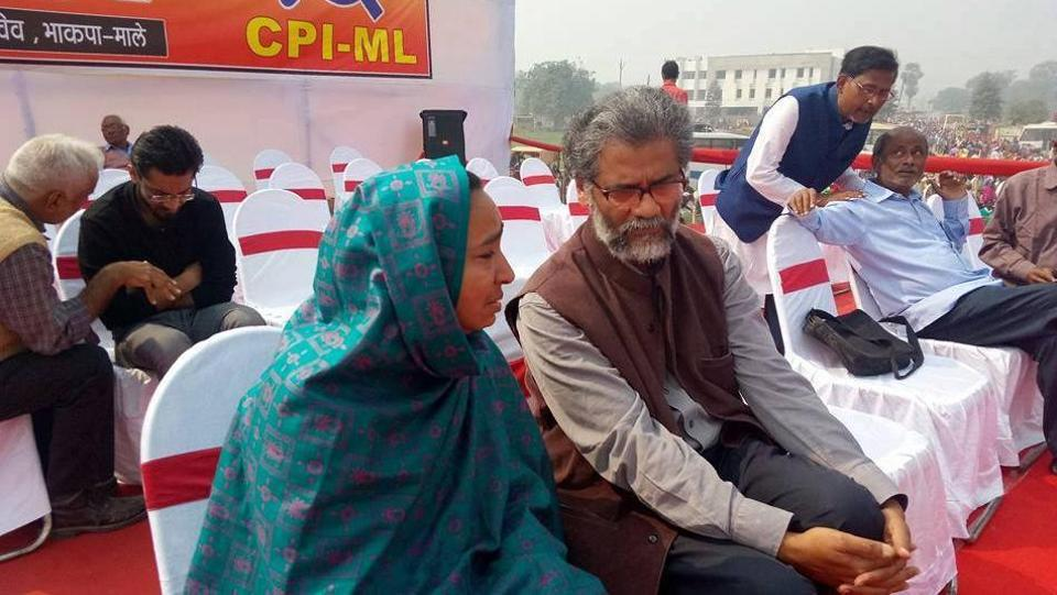 Missing JNU student Najeeb Ahmed's mother Fatima Nafees and  CPI-ML (Liberation) general secretary Dipankar Bhattacharya at the Adhikar rally in Patna.