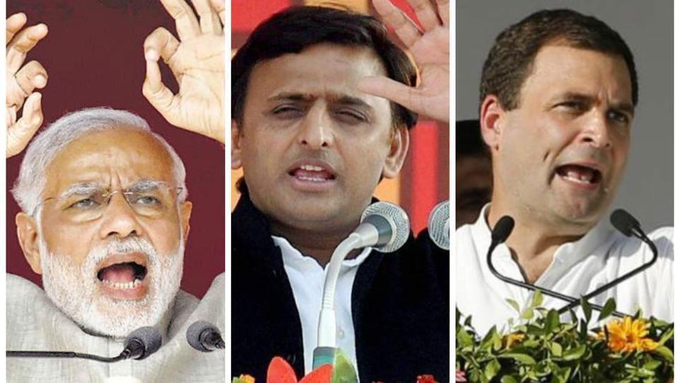 Combination picture of PM Modi, Uttar Pradesh CM Akhilesh Yadav and Congress vice president Rahul Gandhi.