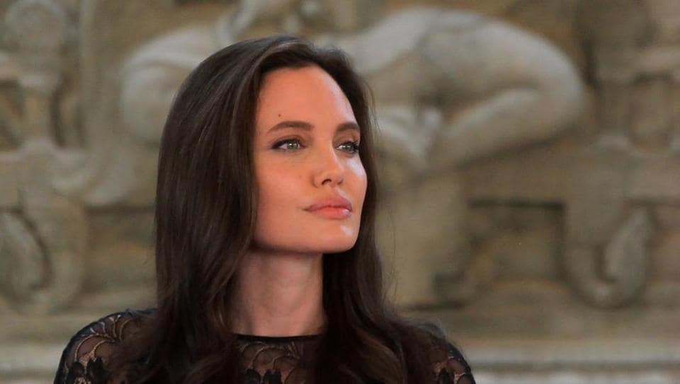 Actor Angelina Jolie attends a news conference at a hotel in Siem Reap province, Cambodia.