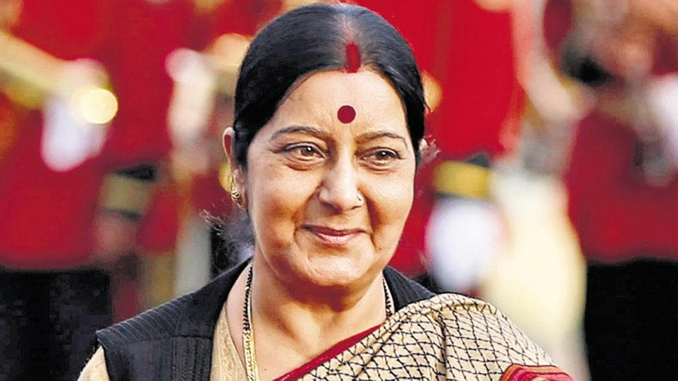 External affairs minister Sushma Swaraj during a ceremony in Kabul.