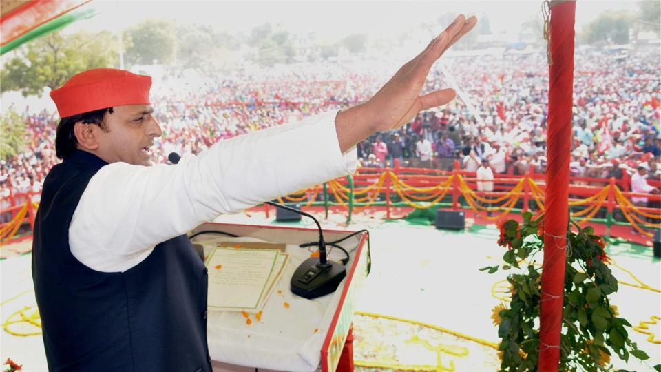 UP chief minister Akhilesh Yadav at an election rally in Amethi on Monday.